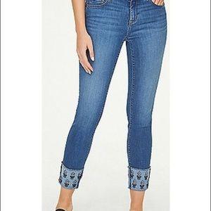 Loft Modern Skinny Embroidered Crop Jeans